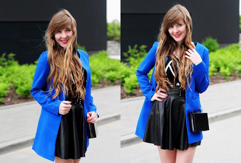 Kobaltowy płaszcz na wiosnę