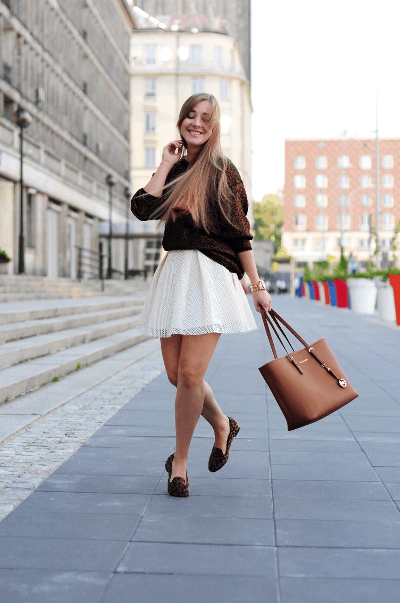 lordsy w panterkę perforowana spódnica sheinside złoty sweter zestaw stylizacja