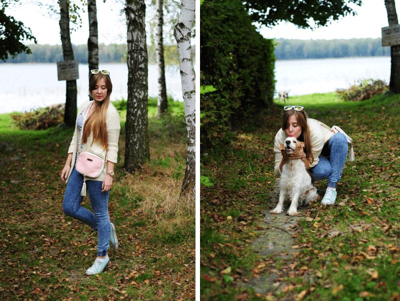 spacer z psem nad jeziorem jesienny weekend