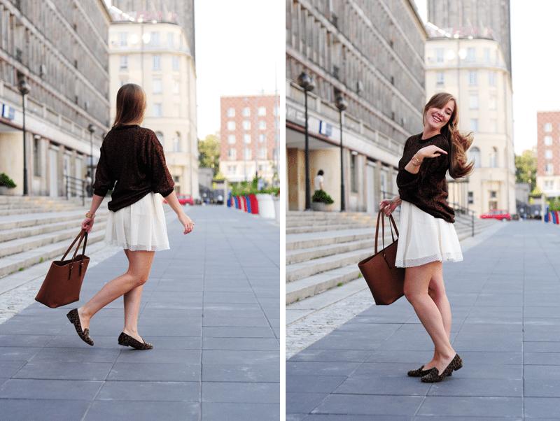 złoty sweterek z second handu stylizacja perforowana śmietankowa spódnica sheinside