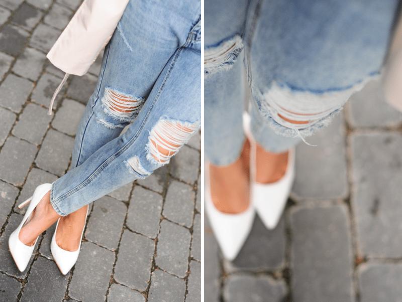 białe szpilki podarte jeansy romwe