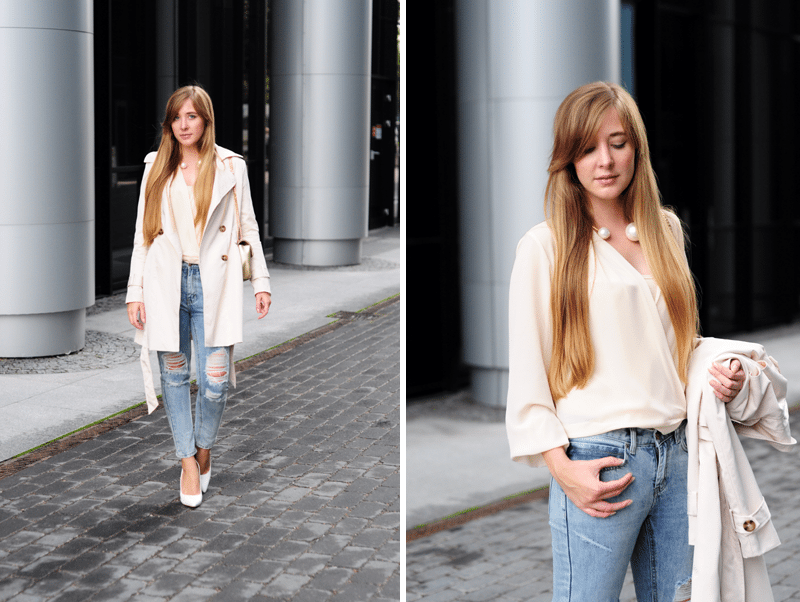 ecru trencz elegancki podarte spodnie jeansy