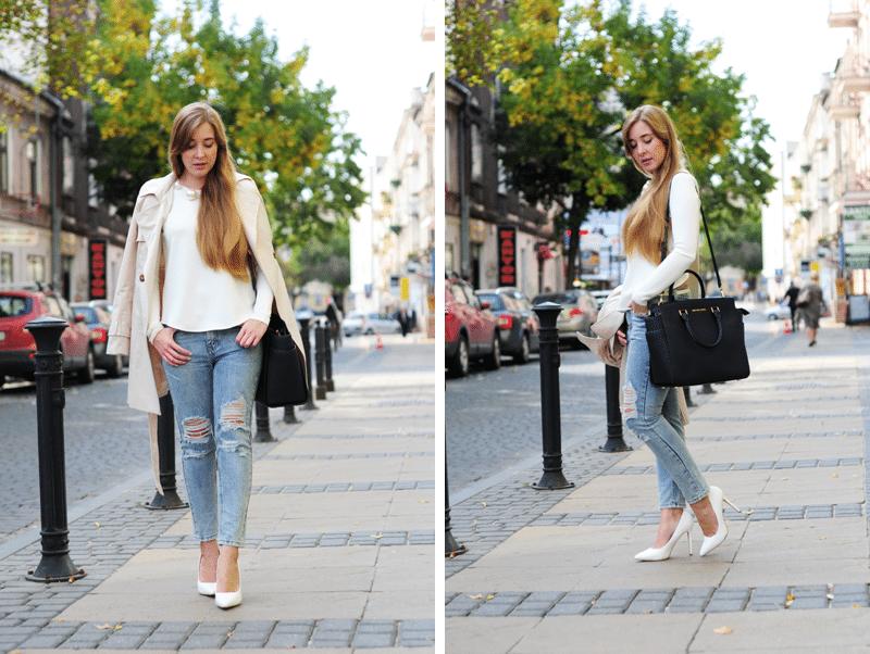 elegancki zestaw biała asymetryczna bluzka