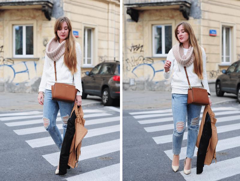 podarte jeansy i biała bluza