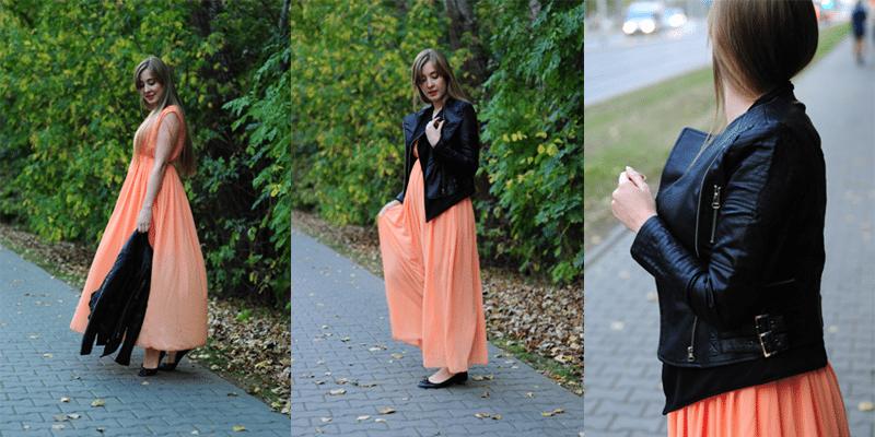 sukienka maxi brzoskwiniowa kurtka sheinside