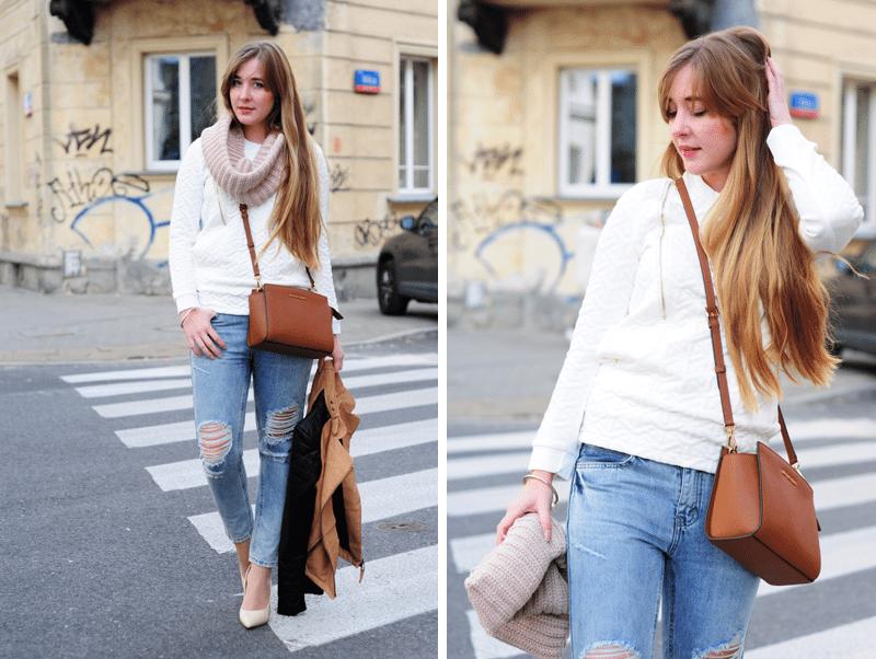 zestaw codzienny podarte jeansy biała bluza