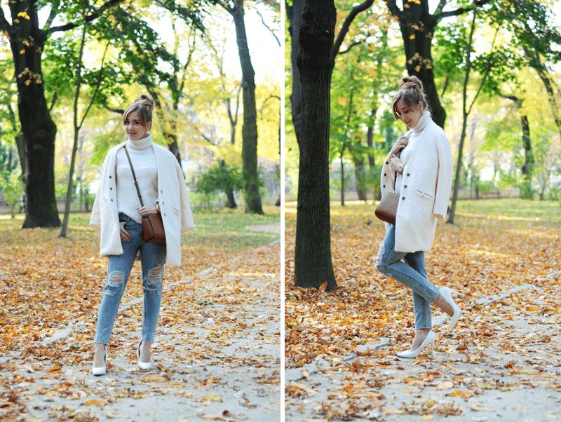 zestaw na jesień beżowy ciepły płaszcz oasap