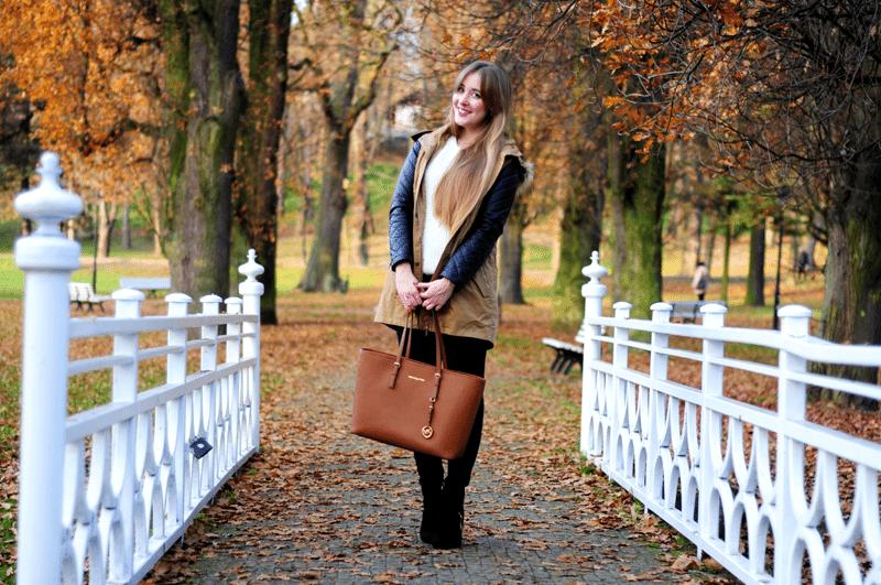 jesień nałęczów park zestaw na spacer ootd ciepła parka sheinside