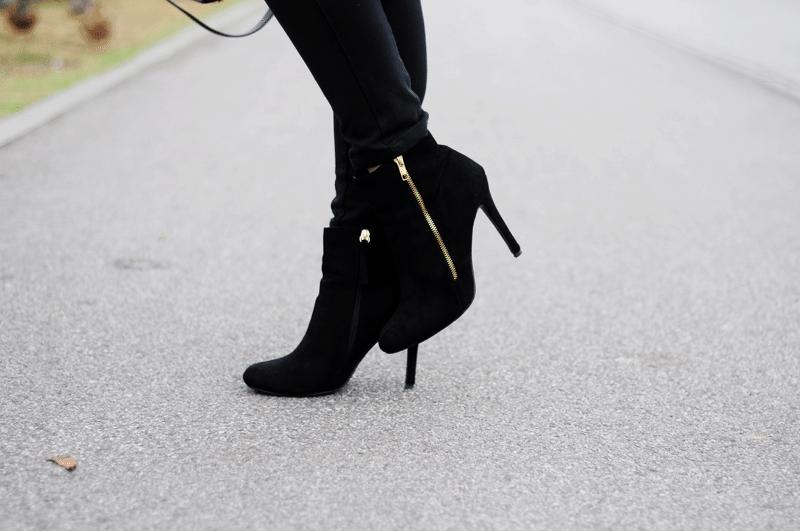 modne czarne botki na jesień na szpilce