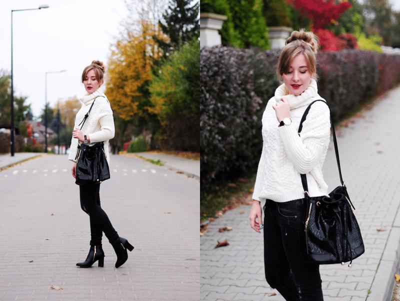 ootd nowy zestaw na jesień worek ciepły sweter podarte jeansy streetstyle