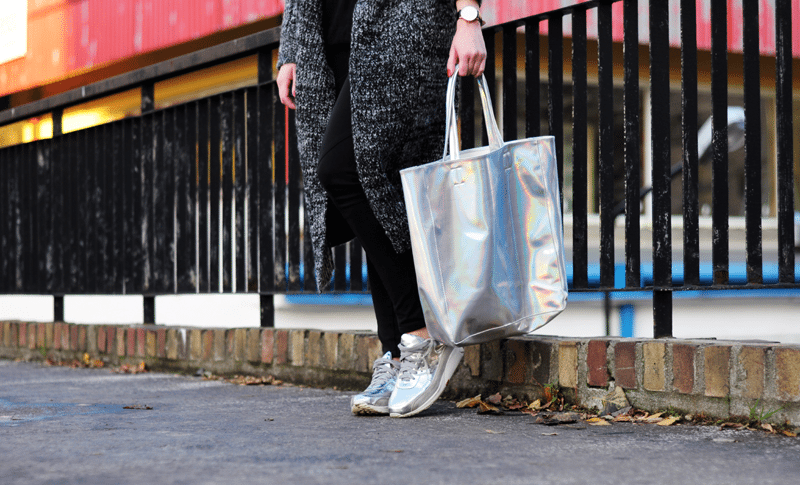 pojemna torba srebrna shopper