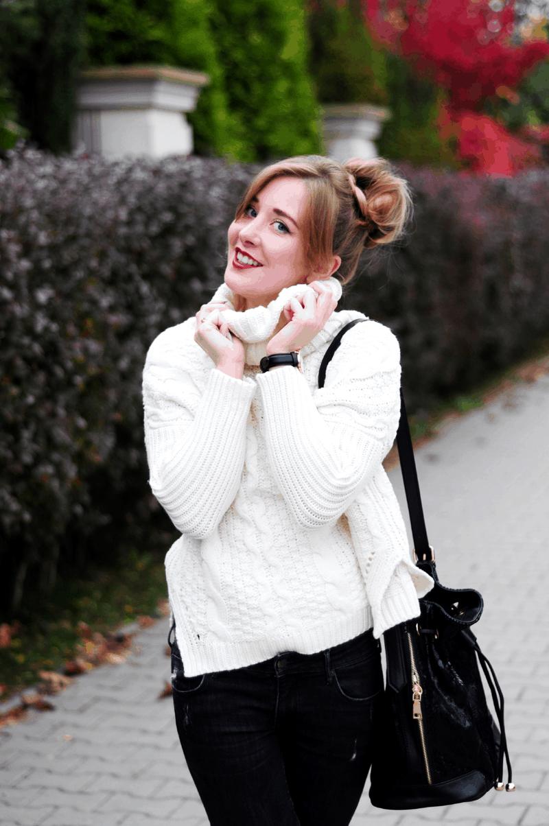 sweter z golfem sheinside biały ciepły nietoperz