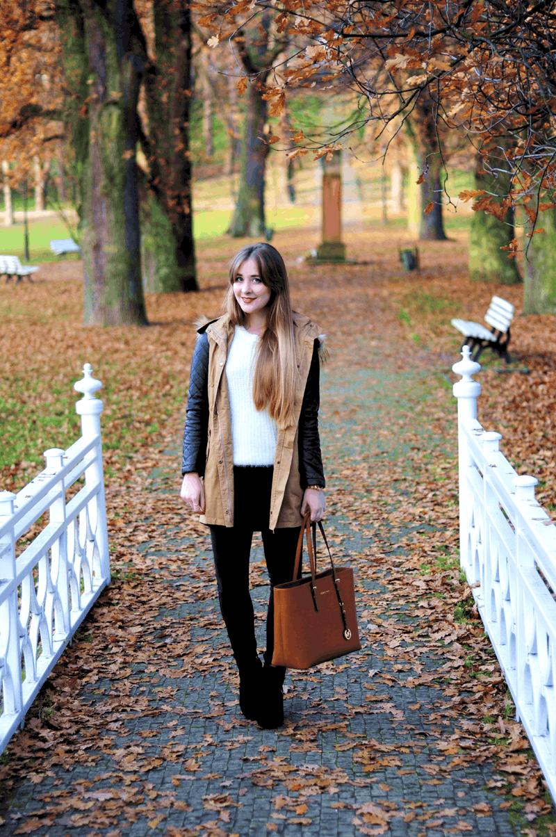 zestaw na jesienny spacer modna parka sheinside blogerki
