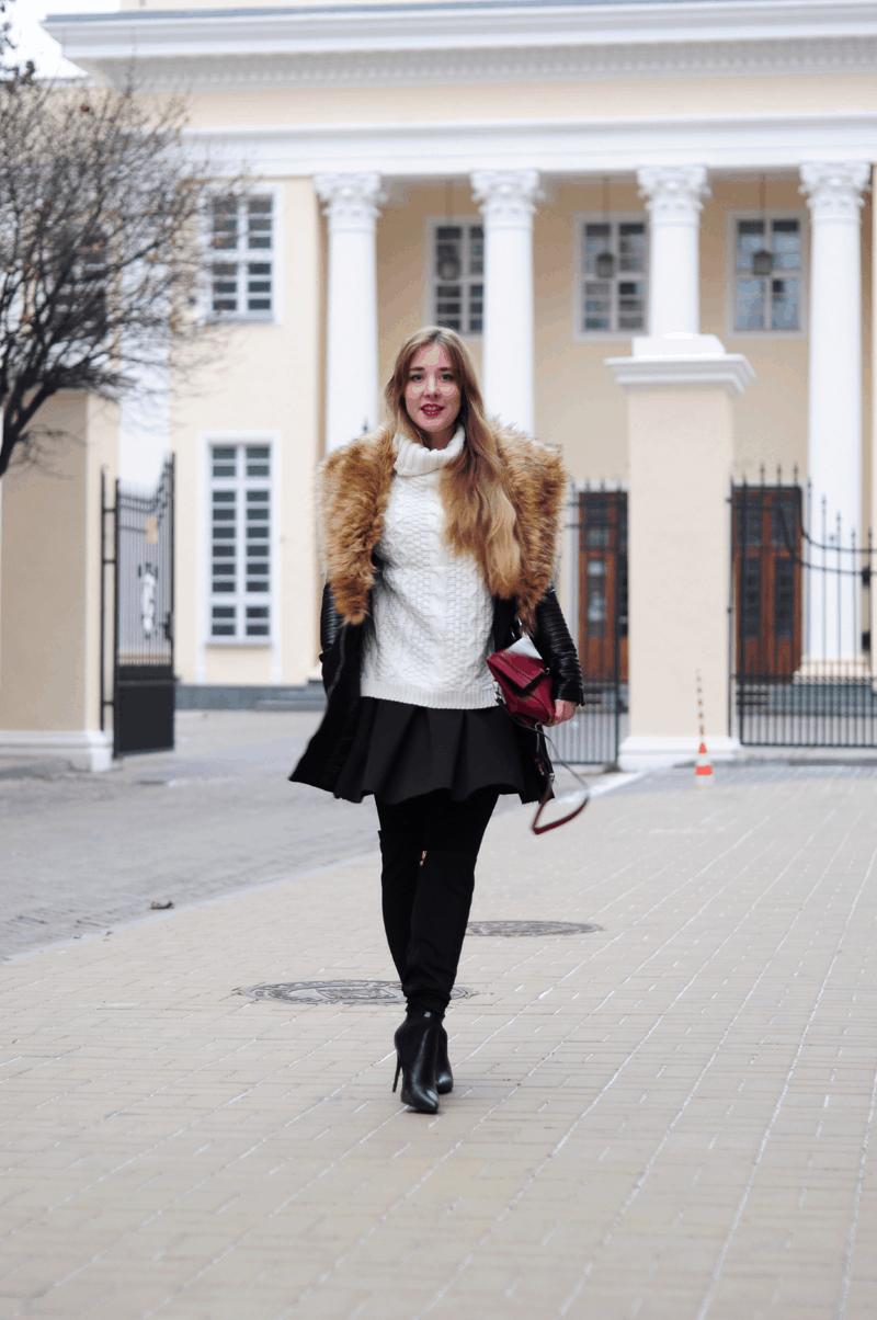 biały golf płaszcz zimowy czarny sheinside