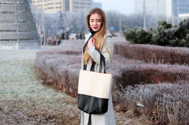 szary maxi płaszcz sheinside pojemna torba shopper choies