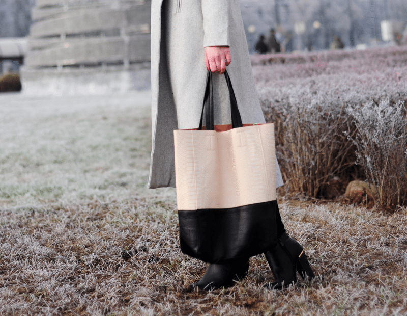 torba shopper choies beżowa czarna pojemna modna streetstyle
