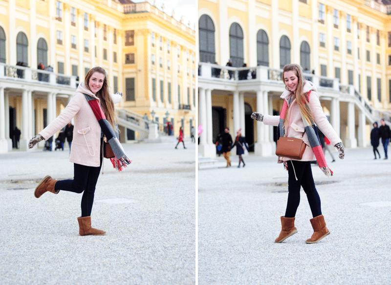 zestaw na zimę różowy pudrowy płaszczyk