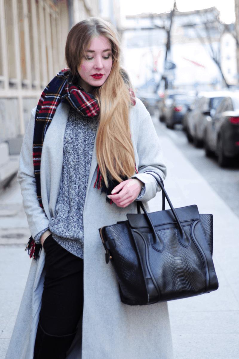 długi płaszcz do ziemi maxi sheinside szary ciepły szal frontrowshop blogerki