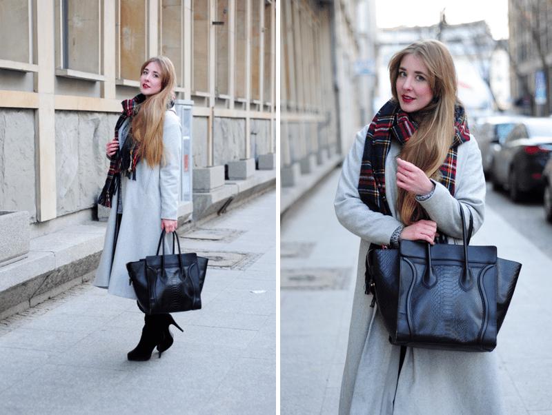 ootd szary maxi długi płaszcz sheinside blogerka