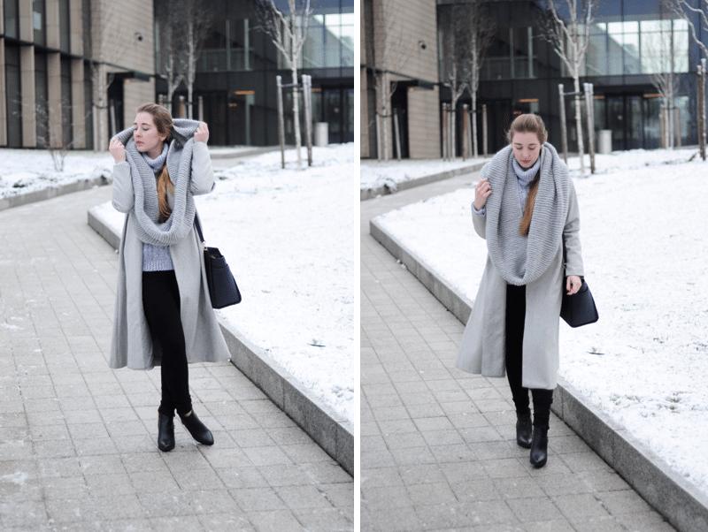 piękny szary modny płaszcz na wiosnę 2015