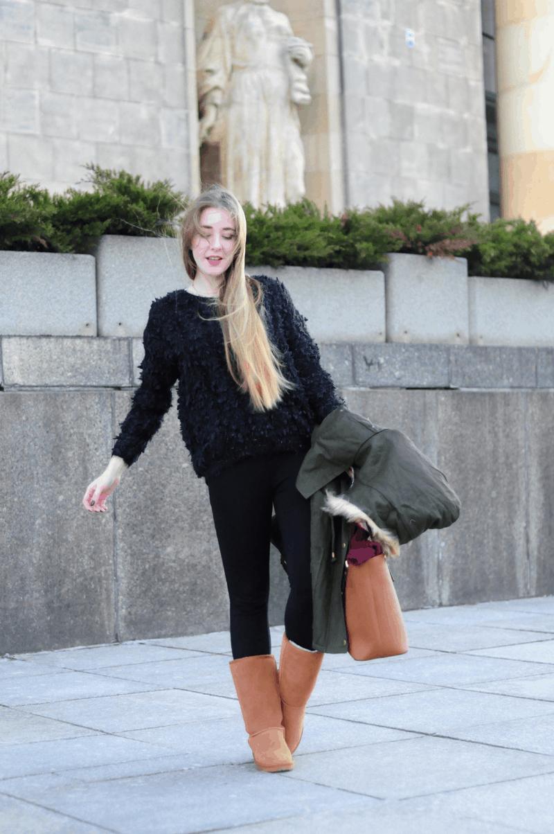 puchaty sweter monashe czarny zielona parka sheinside