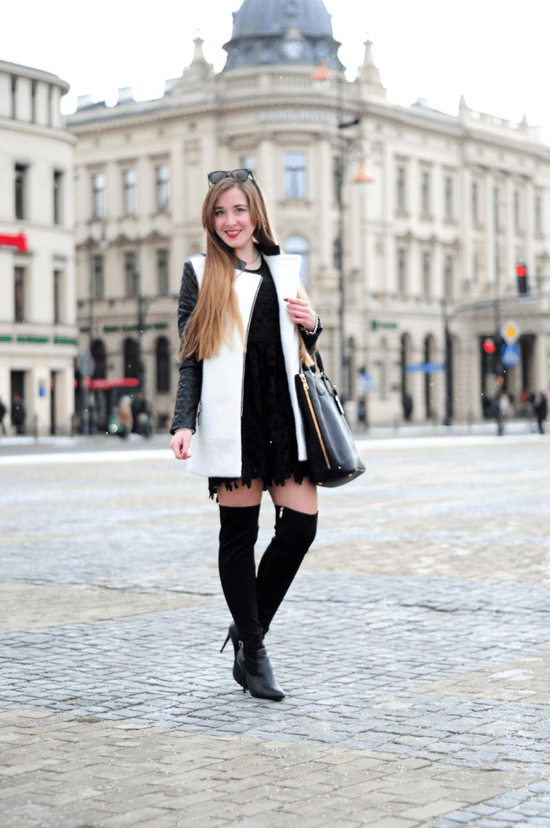 ootd płaszcz biały ze skórzanymi rękawami sheinside wiosna 2015