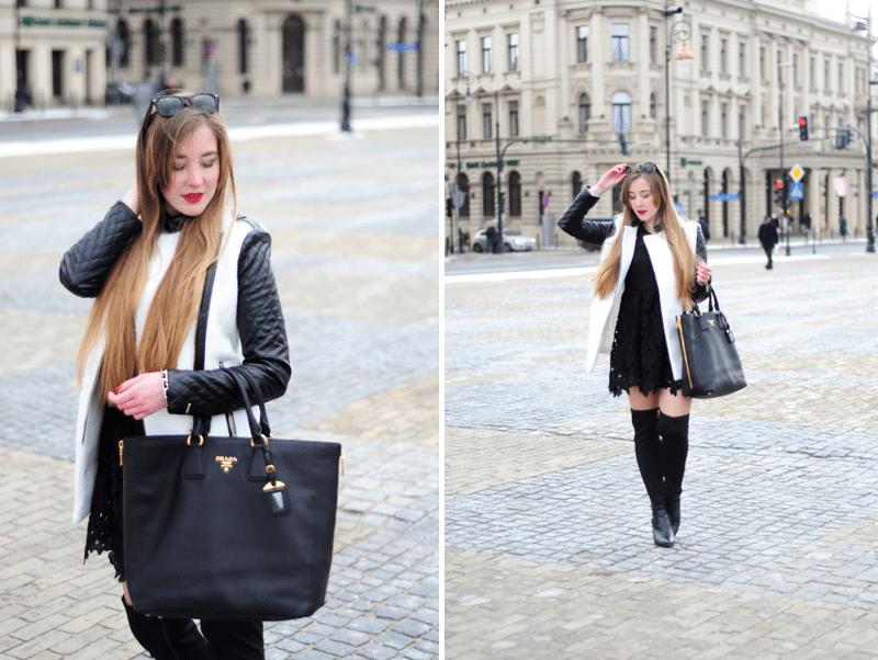 ootd prada bag torba lublin blogerki marieantoinette płaszcz biały sheinside skórzane rękawy