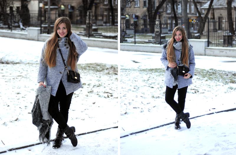 ootd zima 2015 płaszcz sweter szary romwe