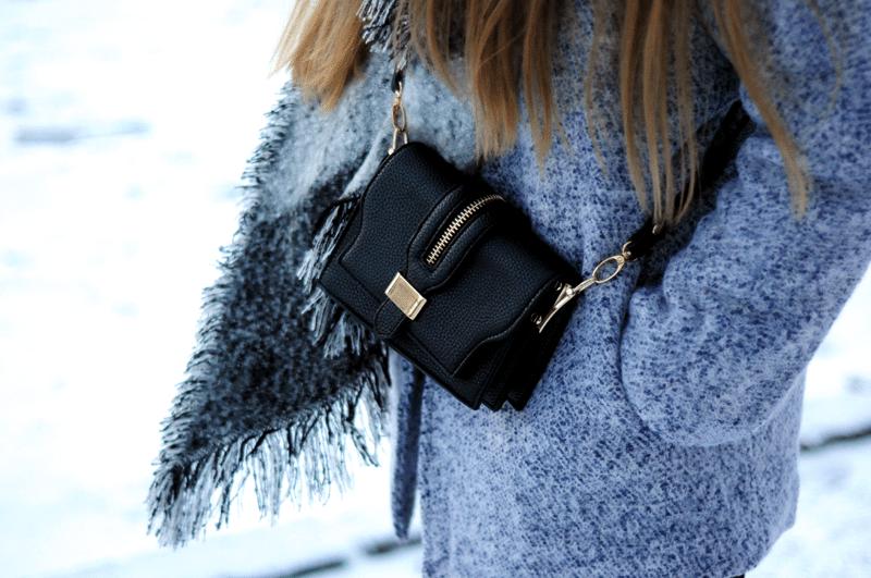 sheinside czarna torebka szal ootd zima