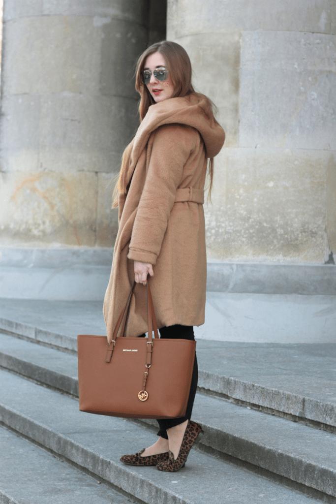 ootd tył camelowy płaszcz szlafrokowy z sheinside