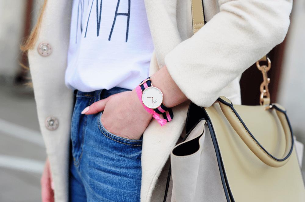 wiosenny zegarek daniel wellington w paski na kolorowym pasku blogerki kod