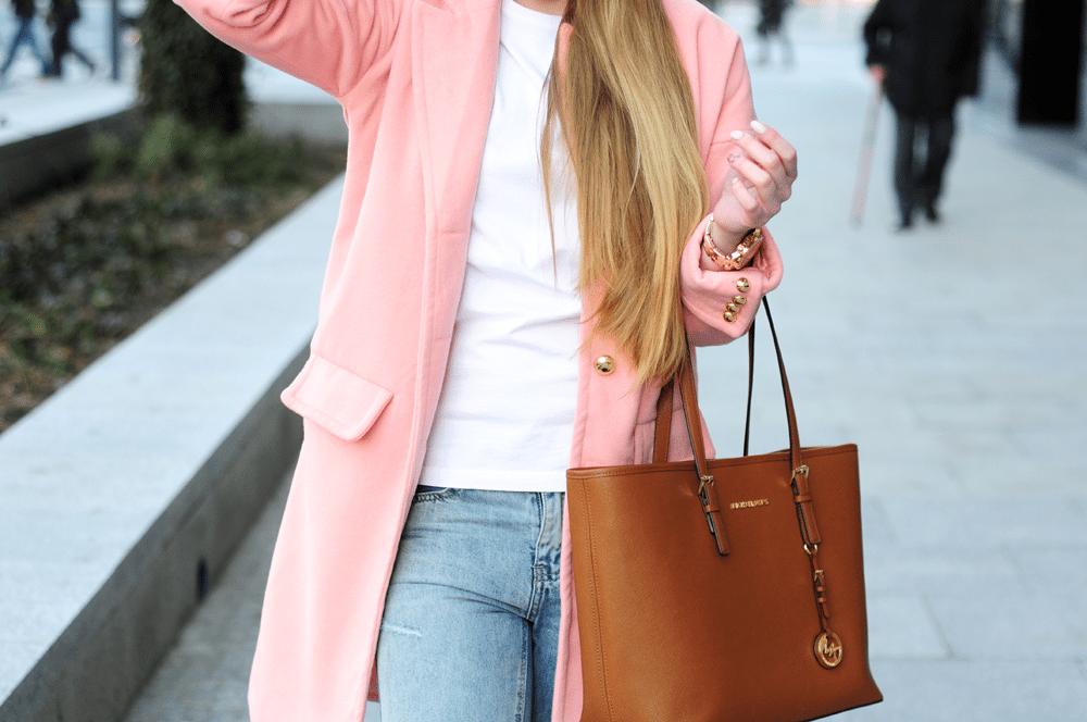 michael kors jet set różowy płaszcz sheinside