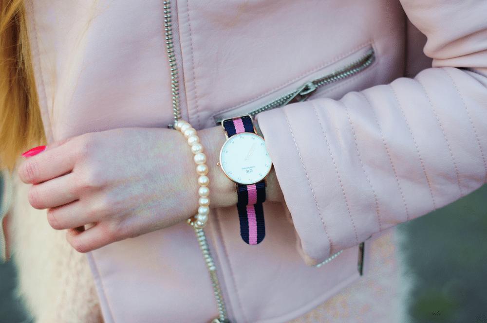 zegarek daniel wellington wiosna różowy pudrowy