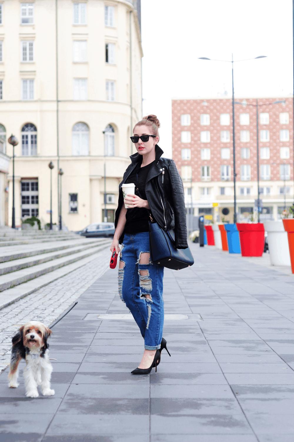 instatosia tosia spacer z psem outfit zestaw stylizacja kurtka sheinside