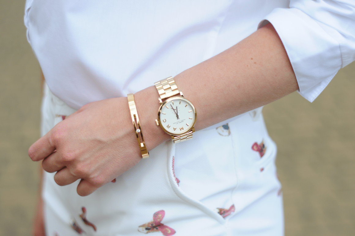 marc jacobs baker watch thepeachbox bracelet in outfit