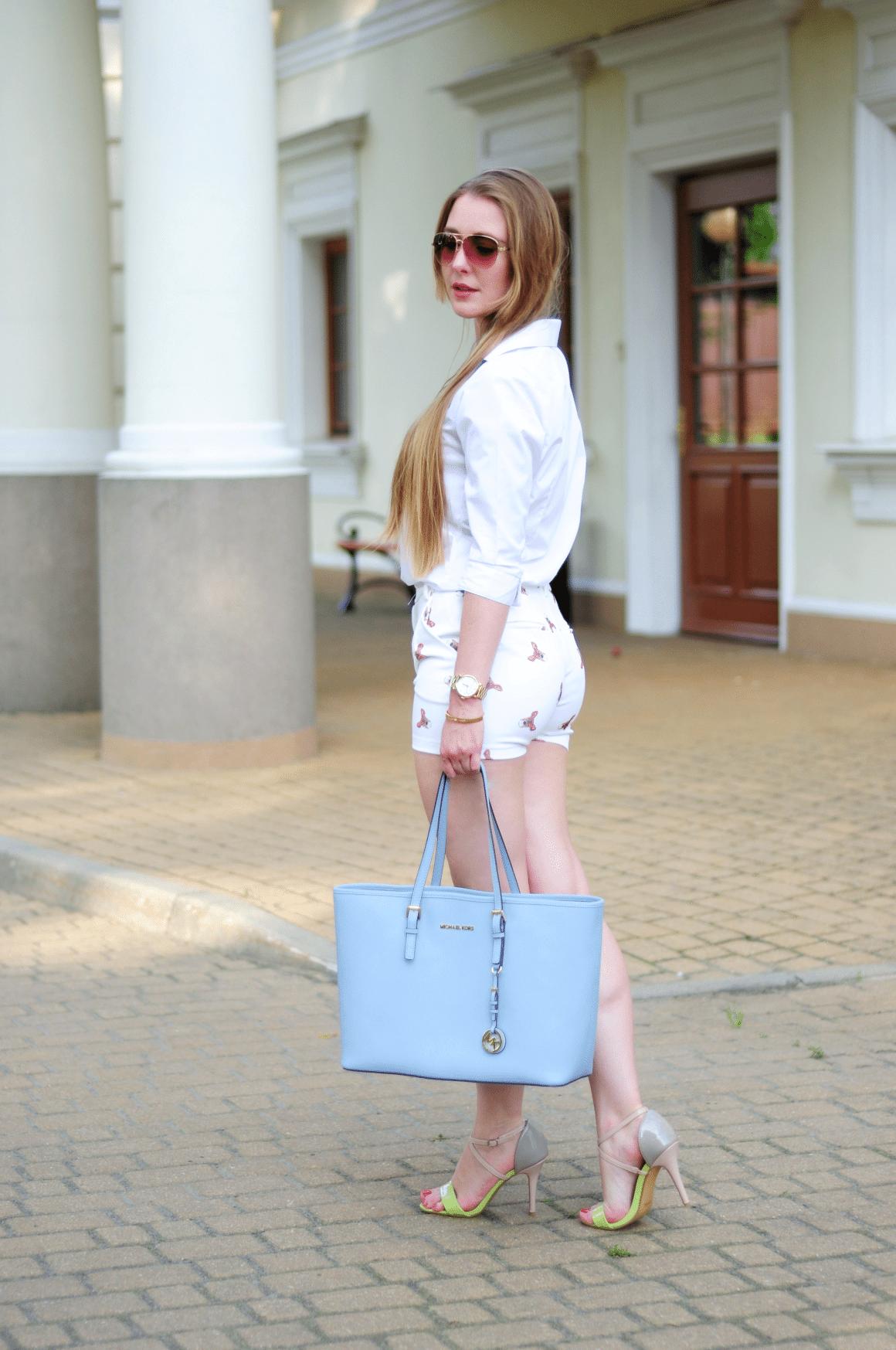 ootd szorty biała koszula lato 2015