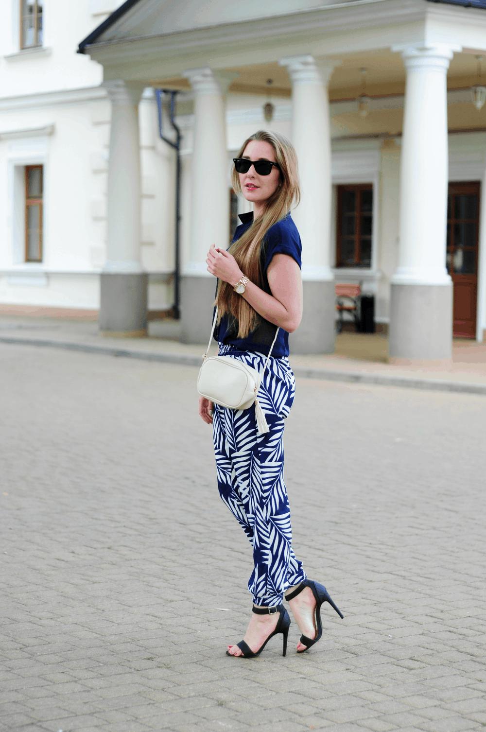 ootd stylizacja spodnie w palmy blog o modzie