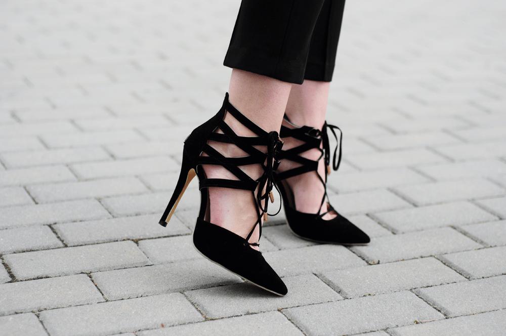 szpilki wiązane sheinside heels laceup