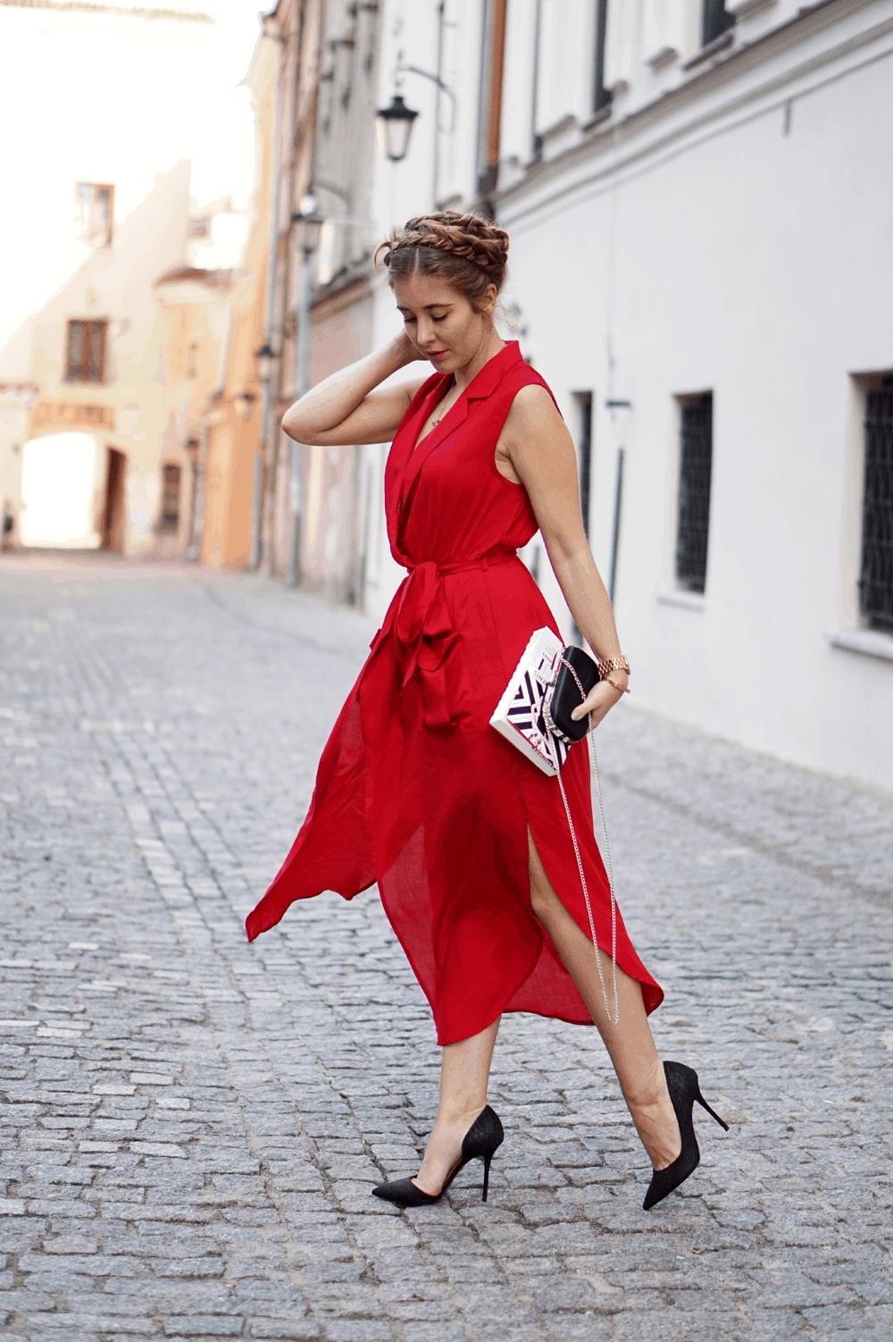czerwona sukienka sheinside shein maxi street