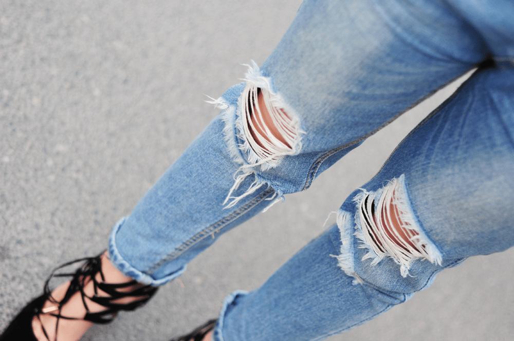 dziury ripped jeans sheinside