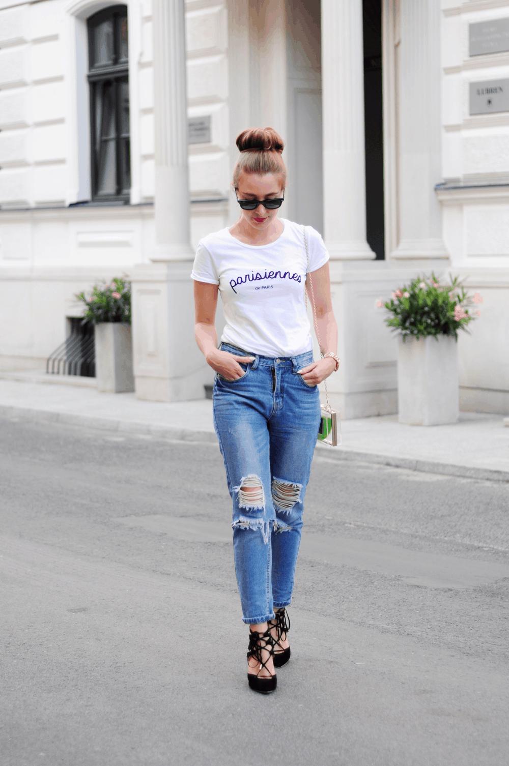 ootd parisennes podarte jeansy streetstyle