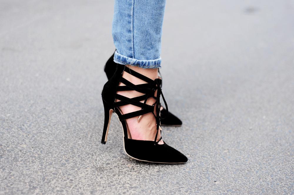 sznurowane szpilki sheinside czarne laceup heels
