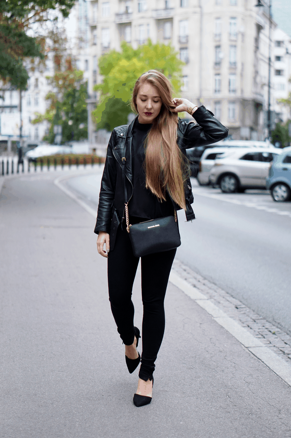 total black ootd romwe