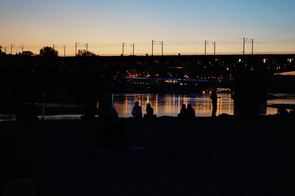 wisła nocą most śląsko dąbrowski