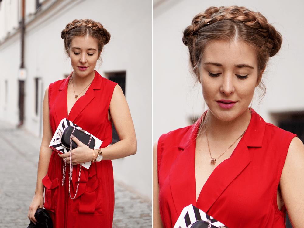zbliżenie korona warkocz czerwona sukienka