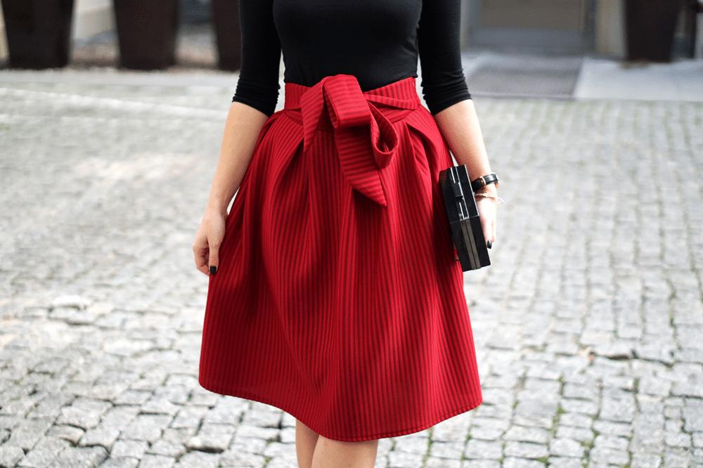 czerwona spódnica sheinside z kokardą