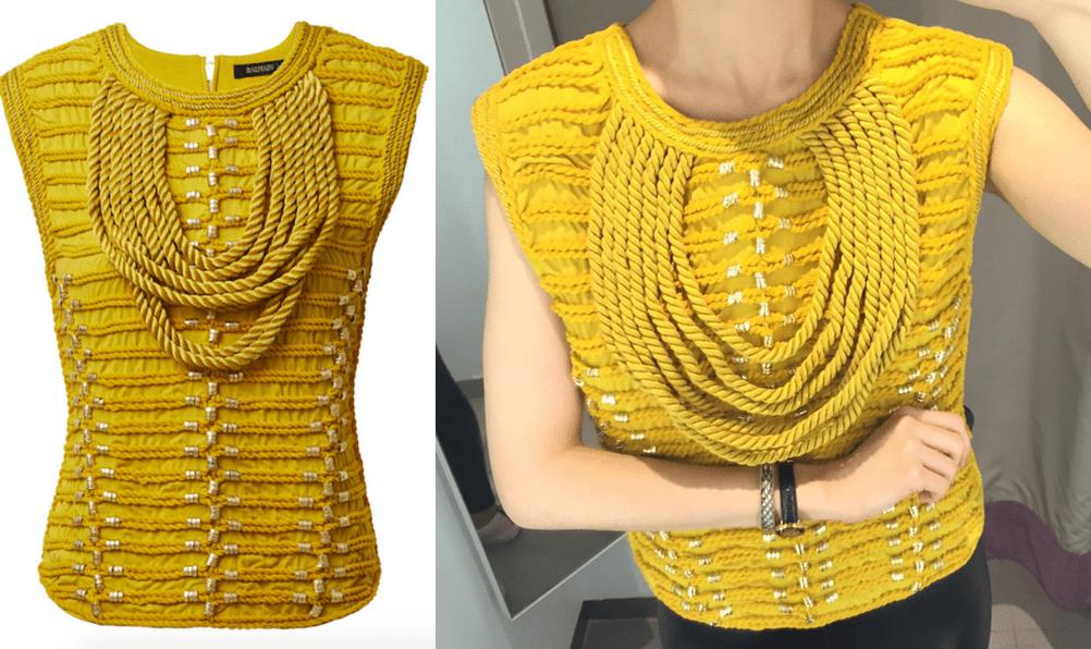 żółta bluzka ze sznurkami hm balmain real foto