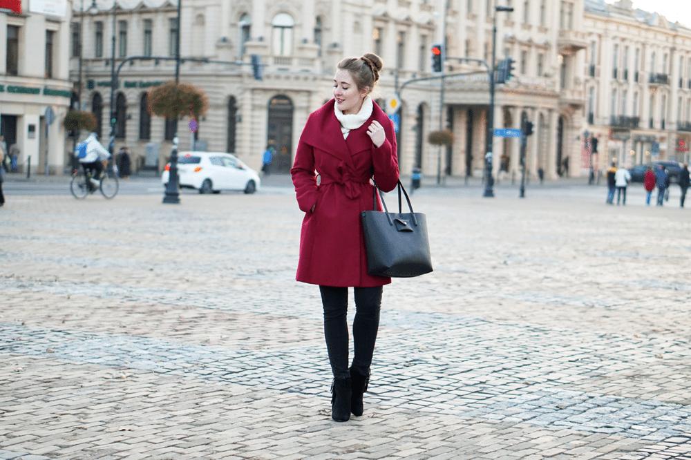 płaszcz FF burgundowy botki amiclubwear zestaw na jesień