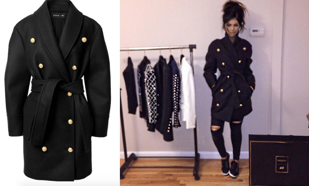 piękny czarny płaszcz balmain dla H&M real foto