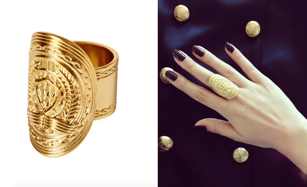 złoty pierścionek hm balmain real foto